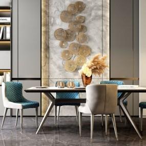 現代輕奢餐桌椅3d模型【ID:849328885】