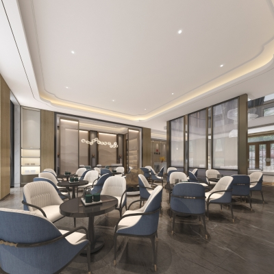 新中式售楼部前台大厅洽谈区3D模型
