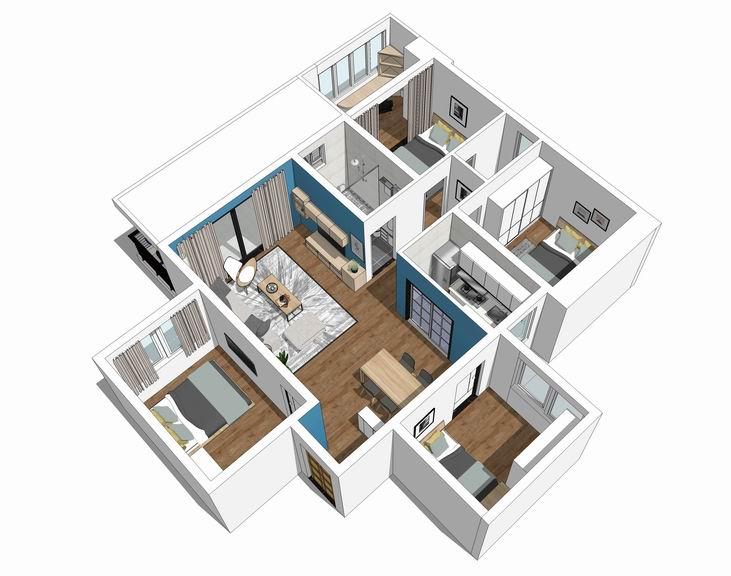现代风格四房两厅室内设计SU模型【ID:936329854】