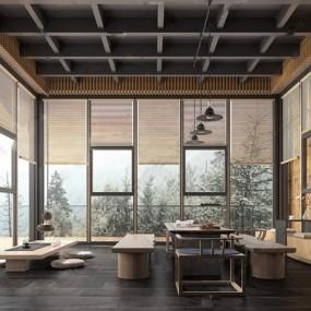 新中式茶室3d模型【ID:328252727】