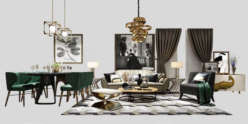 后现代客餐厅软装方案 后现代多人沙发 单人沙发 茶几 凳子 餐桌椅 吊灯 窗帘 挂画 边柜 摆件 台灯