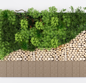 現代圓木綠植背景墻3D模型【ID:127754197】