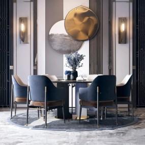 新中式圓形餐桌椅3d模型【ID:846659850】