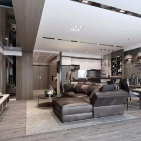 低奢后现代简约客厅3D模型【ID:828148390】