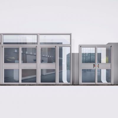 現代肯德基專用鋁合金門組合3D模型【ID:727813570】
