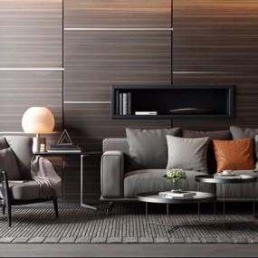现代北欧高级灰沙发茶几组合3D模型【ID:928181771】
