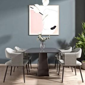 現代餐桌椅組合3D模型【ID:834829898】