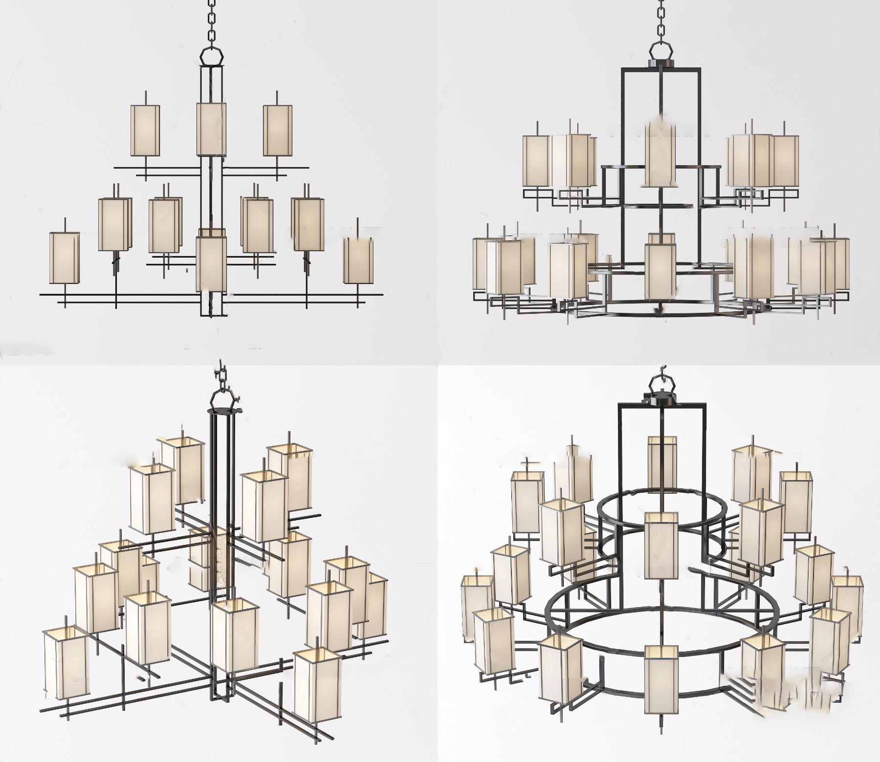 新中式多头多层吊灯组合3D模型【ID:742270814】