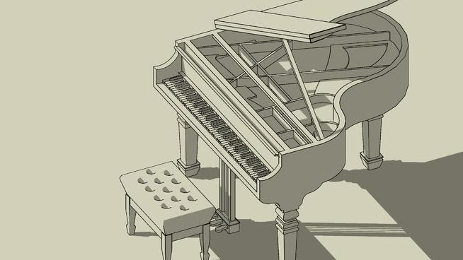 大钢琴SU模型【ID:939379166】