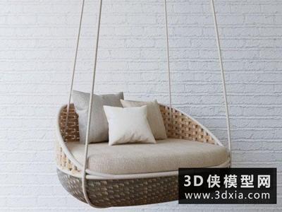 現代藤藝秋千國外3D模型【ID:729446880】