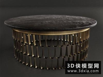 現代金屬茶幾國外3D模型【ID:829569105】