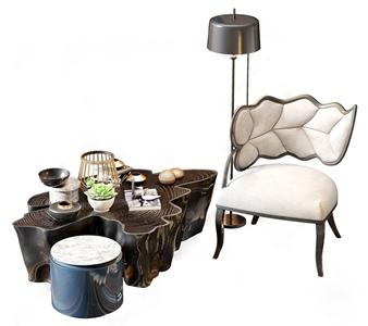 新中式休闲单椅茶几落地灯3D模型【ID:635926458】