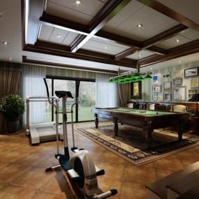 美式健身房,影音室3D模型【ID:628043444】