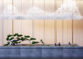 现代古松树玻璃吊灯组合3D模型【ID:127754839】
