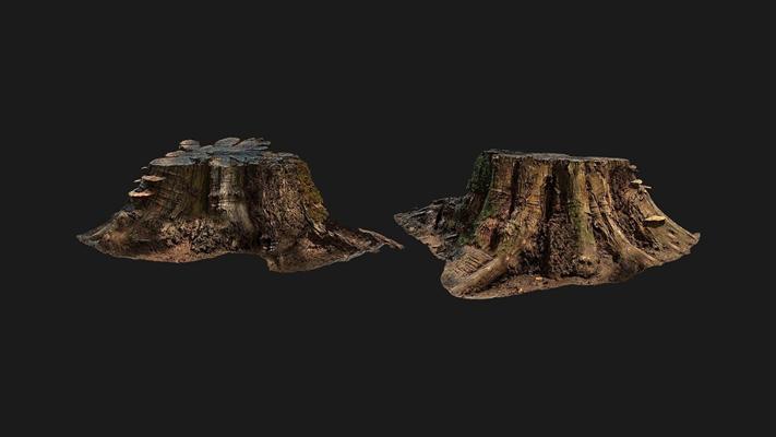 现代树桩3D模型【ID:320612661】