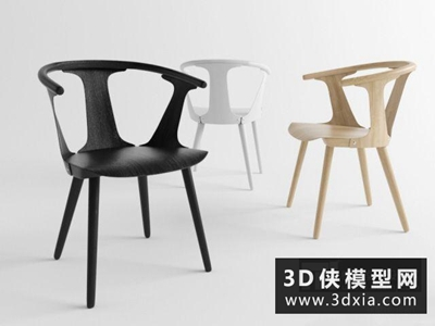 现代木质休闲椅国外3D模型【ID:729637894】