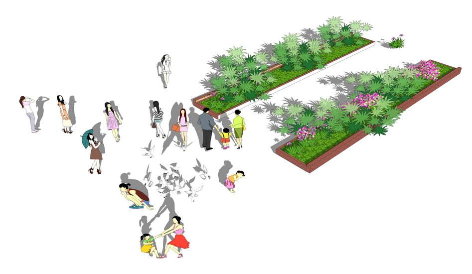 2D人物灌木組合SU模型【ID:836330021】