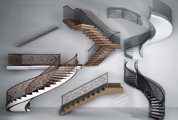 欧式铁艺楼梯组合3D模型【ID:728108929】