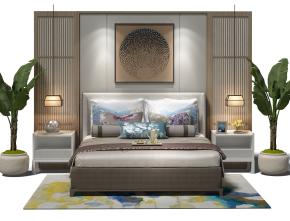 新中式双人床床头背景墙组合3D模型