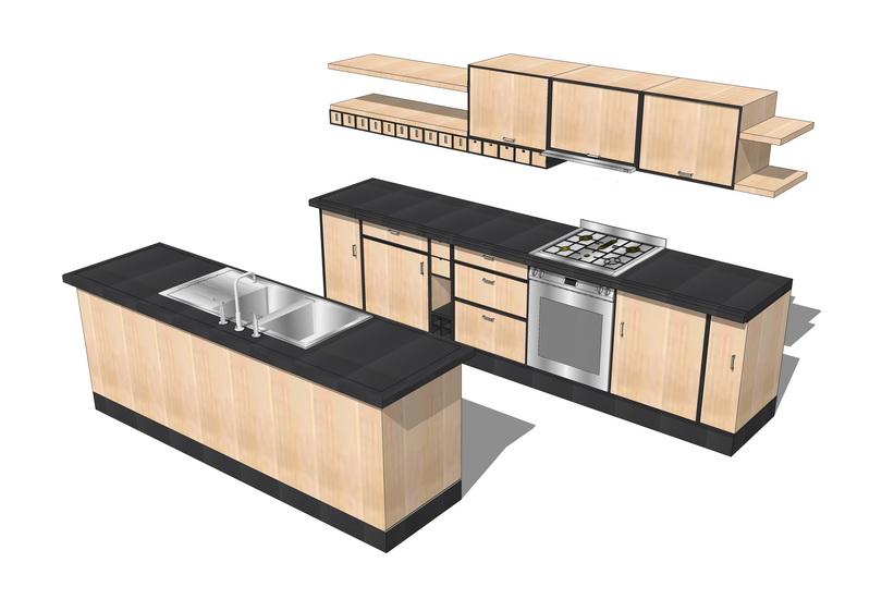 厨房橱柜组合SU模型【ID:736330133】