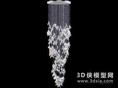 現代水晶吊燈国外3D模型【ID:829406716】