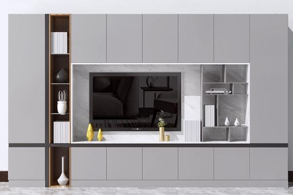現代電視柜背景墻3D模型【ID:247405770】