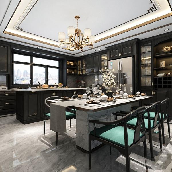 新中式輕奢廚房餐廳3D模型【ID:547180127】