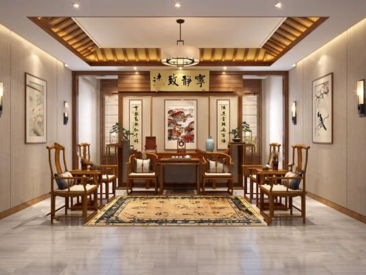 中式客厅3D模型【ID:124884289】