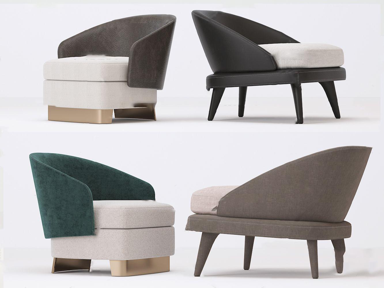 现代意大利minotti休闲椅3D模型【ID:743426089】