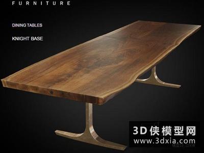 现代餐桌国外3D模型【ID:729401786】