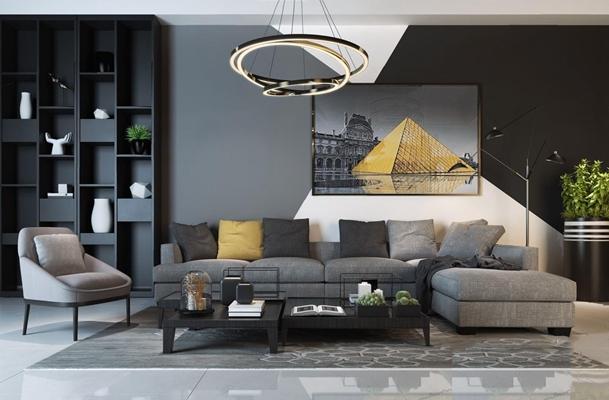 黑白灰現代組合沙發3D模型【ID:928180919】