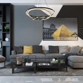 黑白灰现代组合沙发3D模型【ID:928180919】
