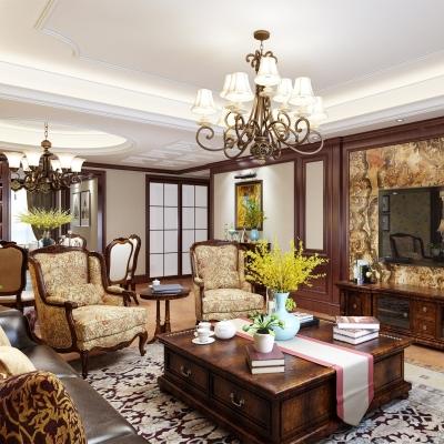美式客厅餐厅3d模型