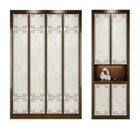 新中式衣柜鞋柜摆件组合3D模型【ID:927819949】