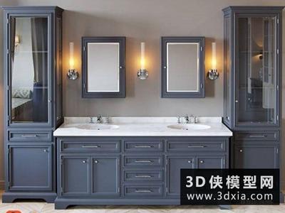 洗手台盆装饰柜组合国外3D模型【ID:829348045】
