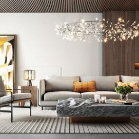 现代轻奢沙发茶几组合 3D模型【ID:641632725】