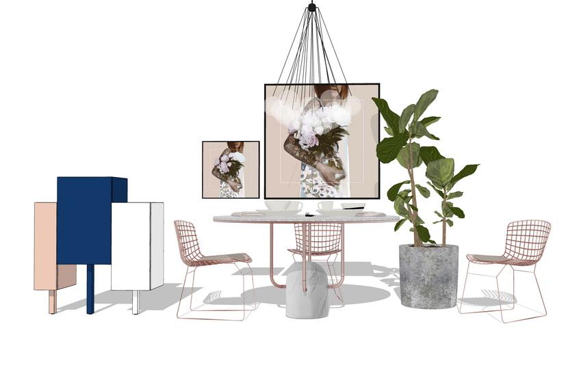 現代風格餐桌吊燈組合SU模型【ID:636331638】
