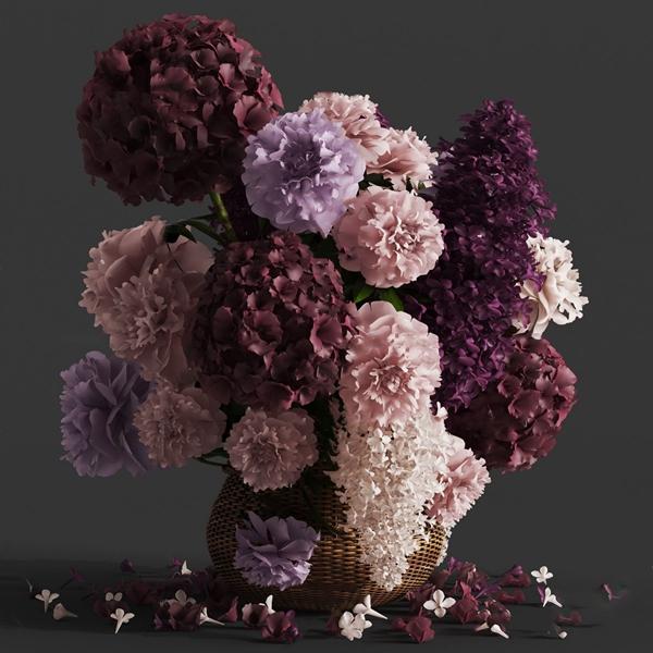 北欧竹编花瓶花卉3D模型【ID:247087869】