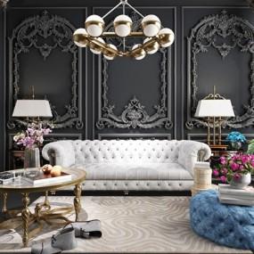 新古典轻奢沙发组合3D模型【ID:127872083】
