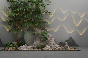 新中式假山竹子组合3D模型【ID:127754811】