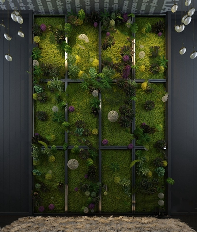 现代绿植墙3D模型【ID:324881512】