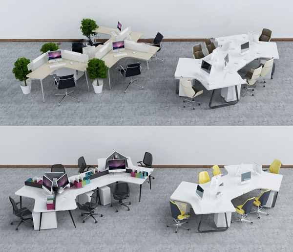 现代卡位办公桌椅3D模型【ID:247087429】