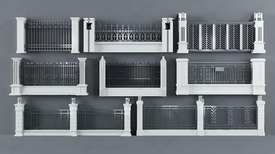 室外花园栏杆扶手3D模型【ID:828328509】