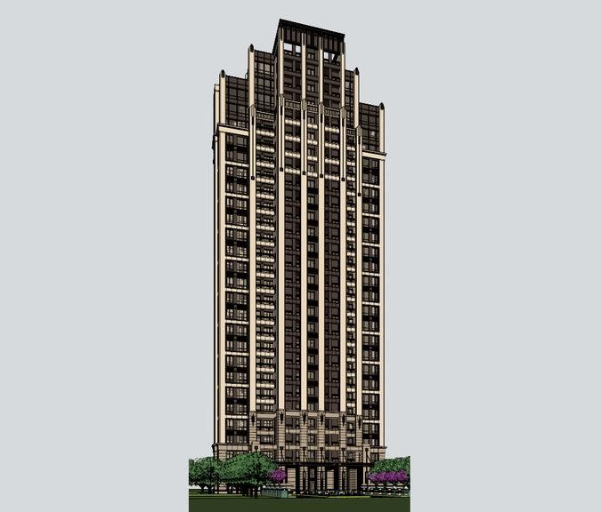 ARTDECO高层住宅SU模型【ID:236331764】