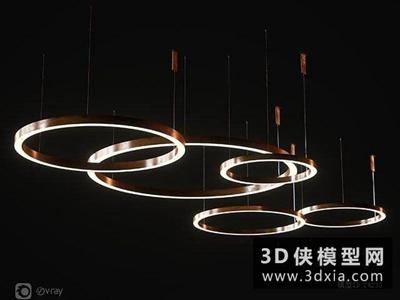 現代环形吊燈国外3D模型【ID:829351777】