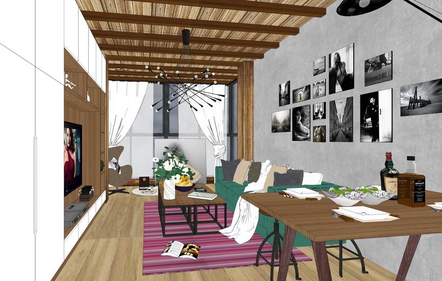 现代工业风复式公寓室内设计SU模型【ID:936331892】