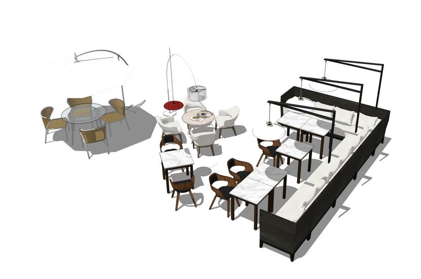 卡座餐桌散座餐桌组合SU模型【ID:636331693】
