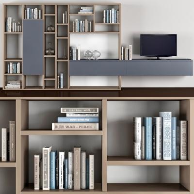 现代书柜电视柜组合3D模型【ID:927837587】