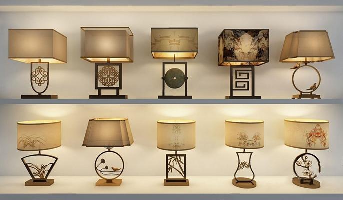 新中式台灯组合3D模型【ID:628048144】