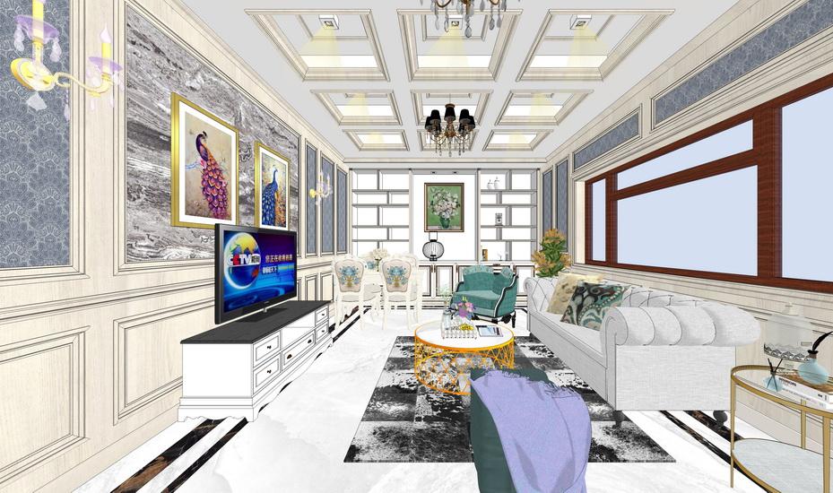 新古典客廳餐廳室內設計SU模型【ID:936332807】
